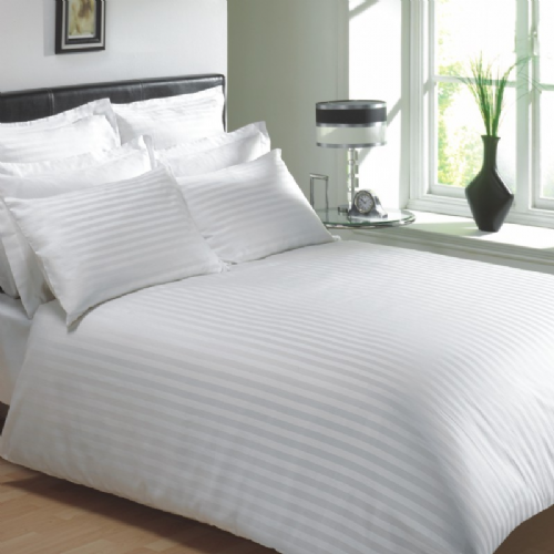 WHITE COLOUR 250 THREAD COUNT COTTON LUXURY HOTEL STRIPE BEDDING & BEDLINEN RANGE